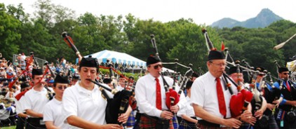 People playing bagpipes