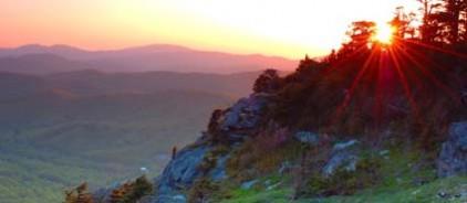 sun with mountain
